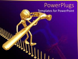 PowerPlugs: PowerPoint template with engineer holding golden hammer walking on inverted gold pins