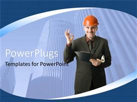 PowerPoint template displaying an engineer with sky scrapers in the background
