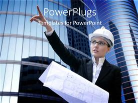 PowerPoint template displaying an engineer with skyscrapers in the background