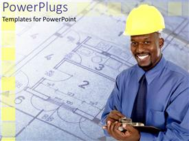 PowerPlugs: PowerPoint template with an engineer smiling with a design in the background