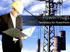 PowerPlugs: PowerPoint template with an engineer studying a file with machinery in the background