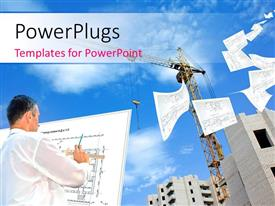 PowerPlugs: PowerPoint template with an engineer with various designs of a building