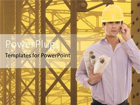 PowerPoint template displaying engineer with workers yellow hard hat and construction papers blueprints in hand with phone at ear and construction site in the background