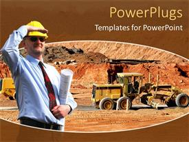 PowerPlugs: PowerPoint template with engineer with yellow hardhat and holding blueprints in a construction side with construction machines working on building site