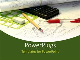 PowerPoint template displaying an engineering sketch, with a black calculator and stationery's