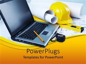 PowerPlugs: PowerPoint template with engineers desk with helmet, computer, measuring tape and drawing paper