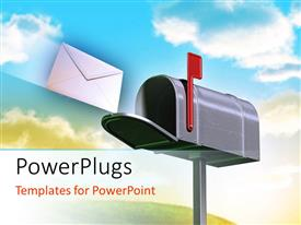 PowerPoint template displaying envelope flying into mailbox with flag up and clouds in background