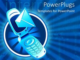 PowerPlugs: PowerPoint template with envelope flying out of cell phone with blue background