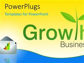PowerPlugs: PowerPoint template with business growth depiction with business report in envelop
