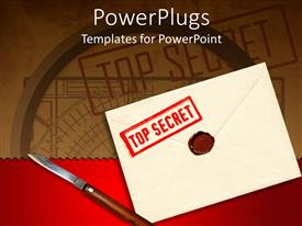 PowerPoint template displaying envelope with a top secret stamp, seal and knife to open seal