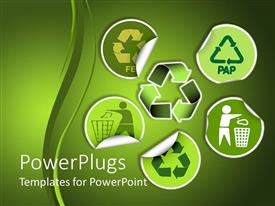 PowerPlugs: PowerPoint template with environment conservation stickers showing recycling and use of bins