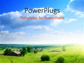 PowerPlugs: PowerPoint template with environment and nature with greenery and sky