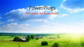 PowerPoint template displaying environment and nature with greenery and sky