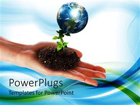 PowerPlugs: PowerPoint template with environmental protection ecology metaphor with hand holding plant growing in dirt, Earth
