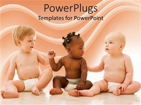 PowerPlugs: PowerPoint template with equality diversity babies baby diapers  friendship  healthy babies  fairness rights