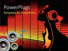 PowerPlugs: PowerPoint template with equalizer bars in background with music symbols, speakers and man with headphones