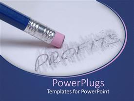 PowerPoint template displaying an eraser erasing the word profit