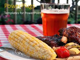 PowerPlugs: PowerPoint template with a glass of juice with a BBQ in front