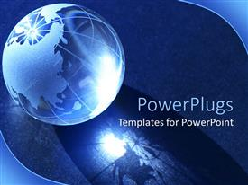PowerPlugs: PowerPoint template with etched glass globe on dark background