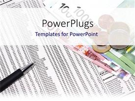 PowerPlugs: PowerPoint template with euro bills and coins with pen placed on fInancial document