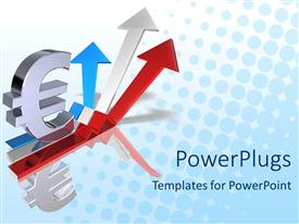 PowerPlugs: PowerPoint template with euro sign sitting on a red, white and blue arrow pointing upwards