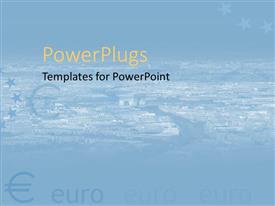 PowerPoint template displaying euro sign and stars on cityscape background