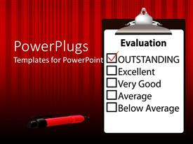 PowerPlugs: PowerPoint template with evaluation paper on clipboard with outstanding mark checked with red check mark and red ink pen on red striped background