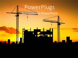 PowerPlugs: PowerPoint template with evening sunset view of buildings at a construction site