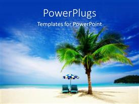 PowerPlugs: PowerPoint template with evening view of a beach with a palm tree