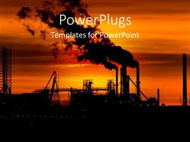 PowerPoint template displaying an evening view of a construction site with smoke in the air