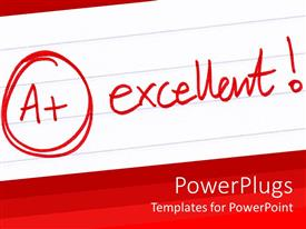 PowerPlugs: PowerPoint template with a+ excellent grade with exclamation mark on white school notebook paper and red background