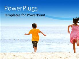 PowerPlugs: PowerPoint template with two kids playing ont he beach with sea in background