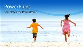 PowerPoint template displaying two kids playing ont he beach with sea in background