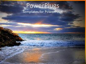 PowerPlugs: PowerPoint template with an exotic beach with rocks along with sun being set in the west