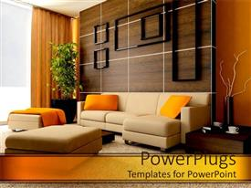 PowerPoint template displaying exquisite contemporary designed living room