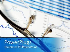 PowerPoint template displaying eye glasses sitting on financial report charts, finance, investing, wealth management