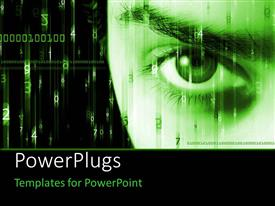 PowerPlugs: PowerPoint template with an eye in green color with binary numbers