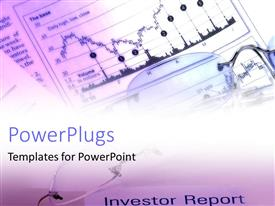 PowerPlugs: PowerPoint template with eyeglasses on top of financial papers with base chart