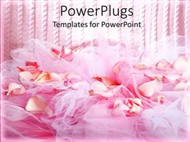 PowerPlugs: PowerPoint template with the fabric and flowers along with pinkish lines in the background