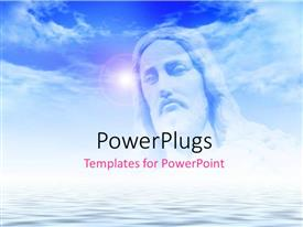 PowerPlugs: PowerPoint template with the face of Jesus with clouds in the background and place for text
