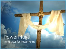 PowerPlugs: PowerPoint template with face of Jesus gazing on cross draped with cloth