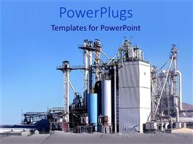 PowerPlugs: PowerPoint template with a factory with a clear sky in the background