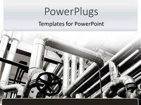 PowerPlugs: PowerPoint template with factory pipes in black and white background