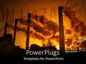 PowerPoint template displaying factory pollution clouds hazard save the planet  red background  burning coal  creates smog