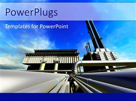 PowerPlugs: PowerPoint template with a factory in the working with a lot of pipelines
