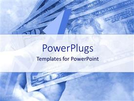 PowerPlugs: PowerPoint template with faded depiction of money bills on blue sky background