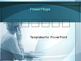 PowerPlugs: PowerPoint template with a faint image of a woman making a phone call and working on a computer