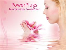 PowerPoint template displaying fair lady holding a flower in a pink colored river