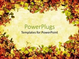 PowerPoint template displaying fall floral colors wreath format background