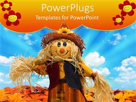 PowerPlugs: PowerPoint template with fall leaves and cloudy sky in background with scarecrow standing in middle